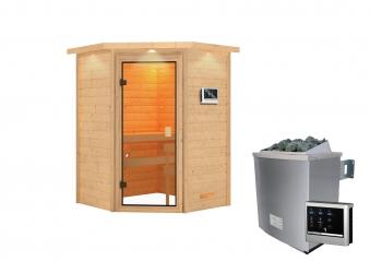 Woodfeeling Sauna Antonia 38mm Dachkranz Saunaofen 9 kW extern Bild 4