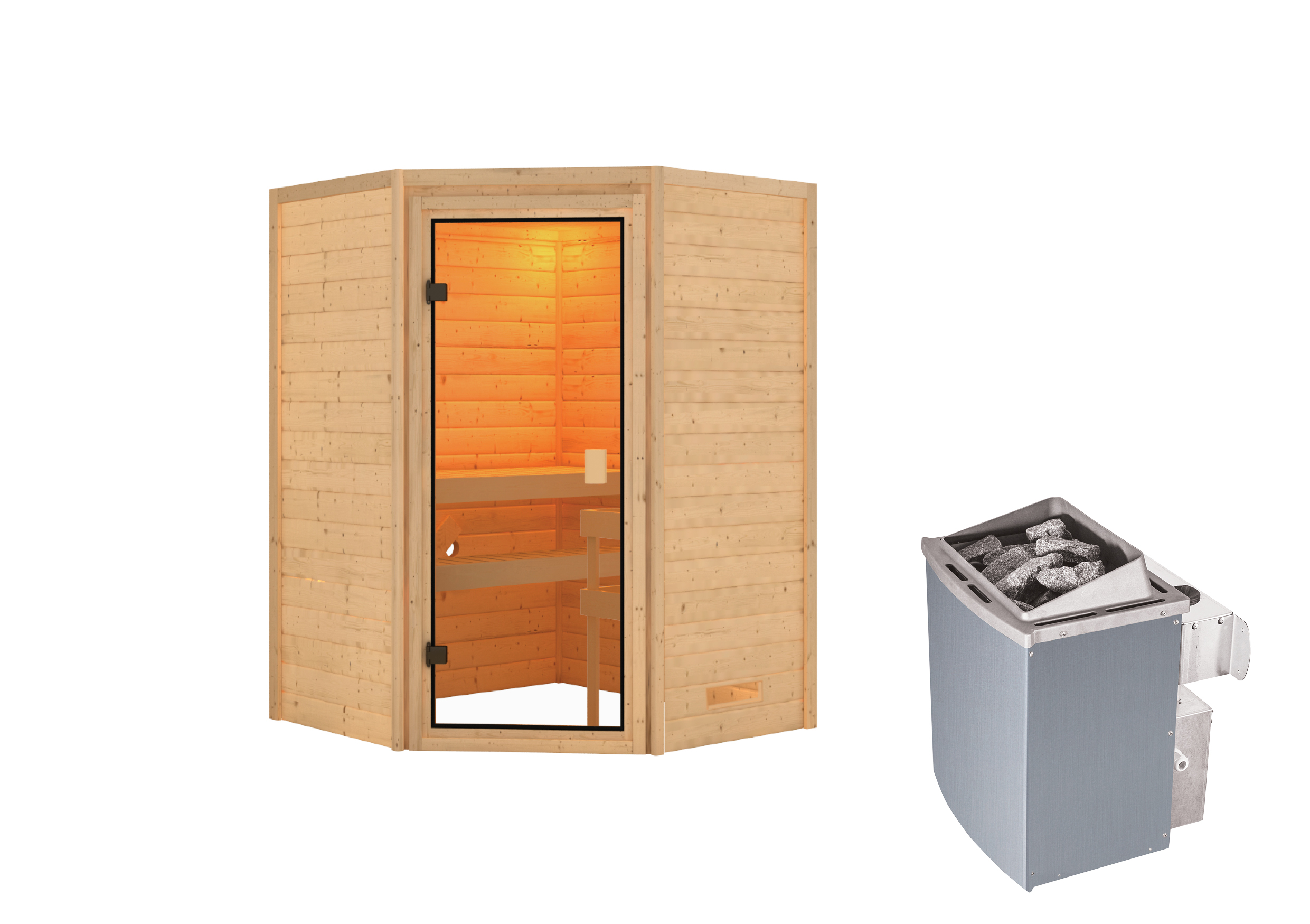 Woodfeeling Sauna Antonia 38mm Saunaofen 9 kW intern Bild 6