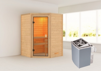 Woodfeeling Sauna Antonia 38mm Saunaofen 9 kW intern Bild 1