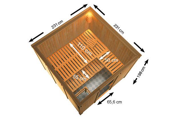 Woodfeeling Sauna Arvika 68mm Saunaofen 9kW extern Bild 8