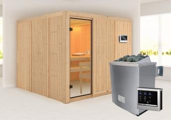 Woodfeeling Sauna Arvika 68mm Saunaofen 9kW extern Bild 1