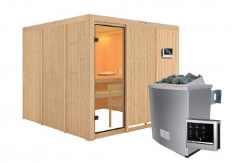 Woodfeeling Sauna Arvika 68mm Saunaofen 9kW extern Bild 13