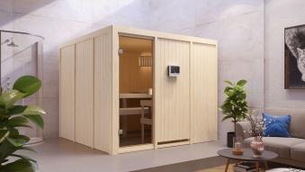 Woodfeeling Sauna Arvika 68mm Saunaofen 9kW extern Bild 9