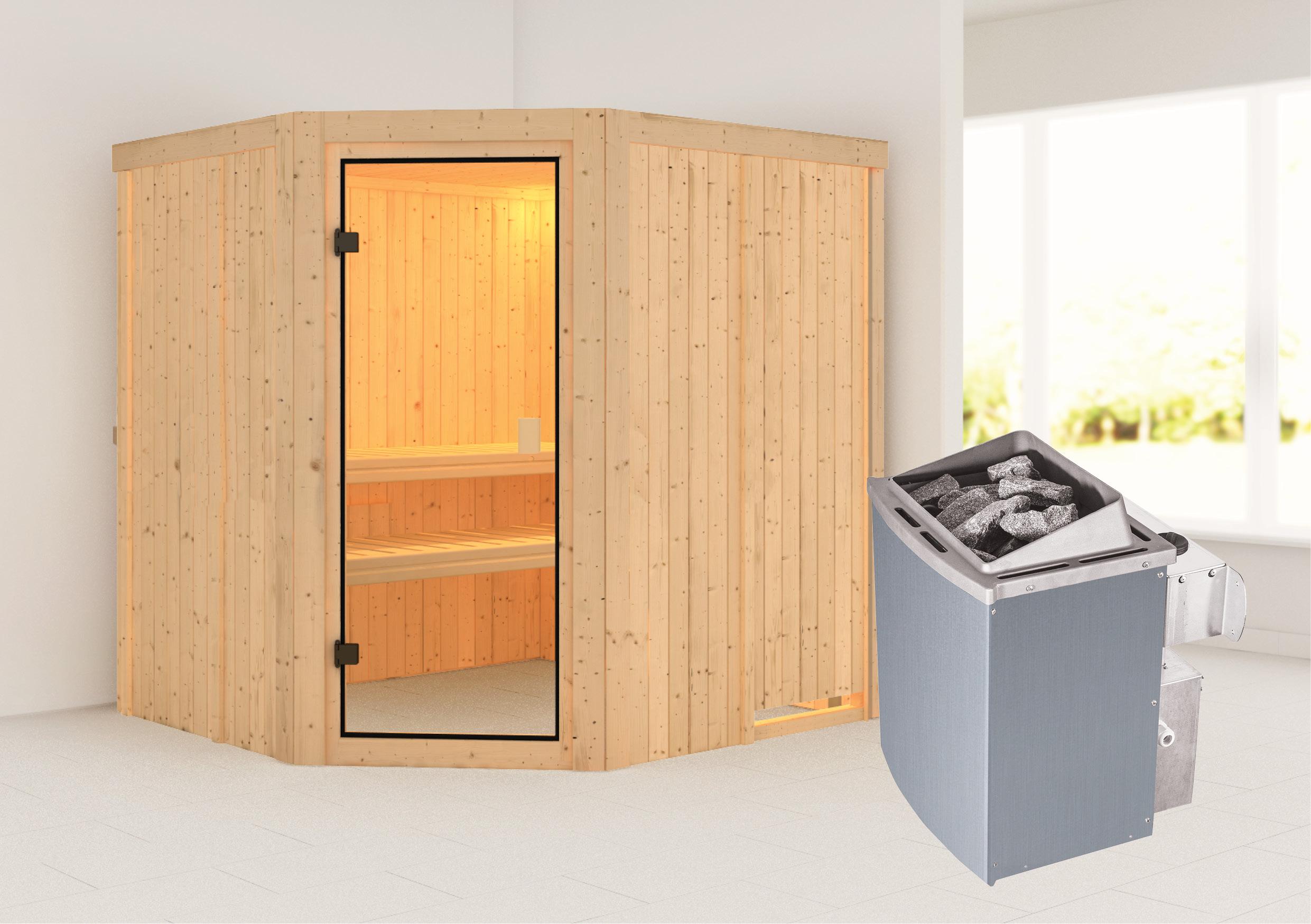 Woodfeeling Sauna Bodo 68mm Saunaofen 9kW intern Bild 1