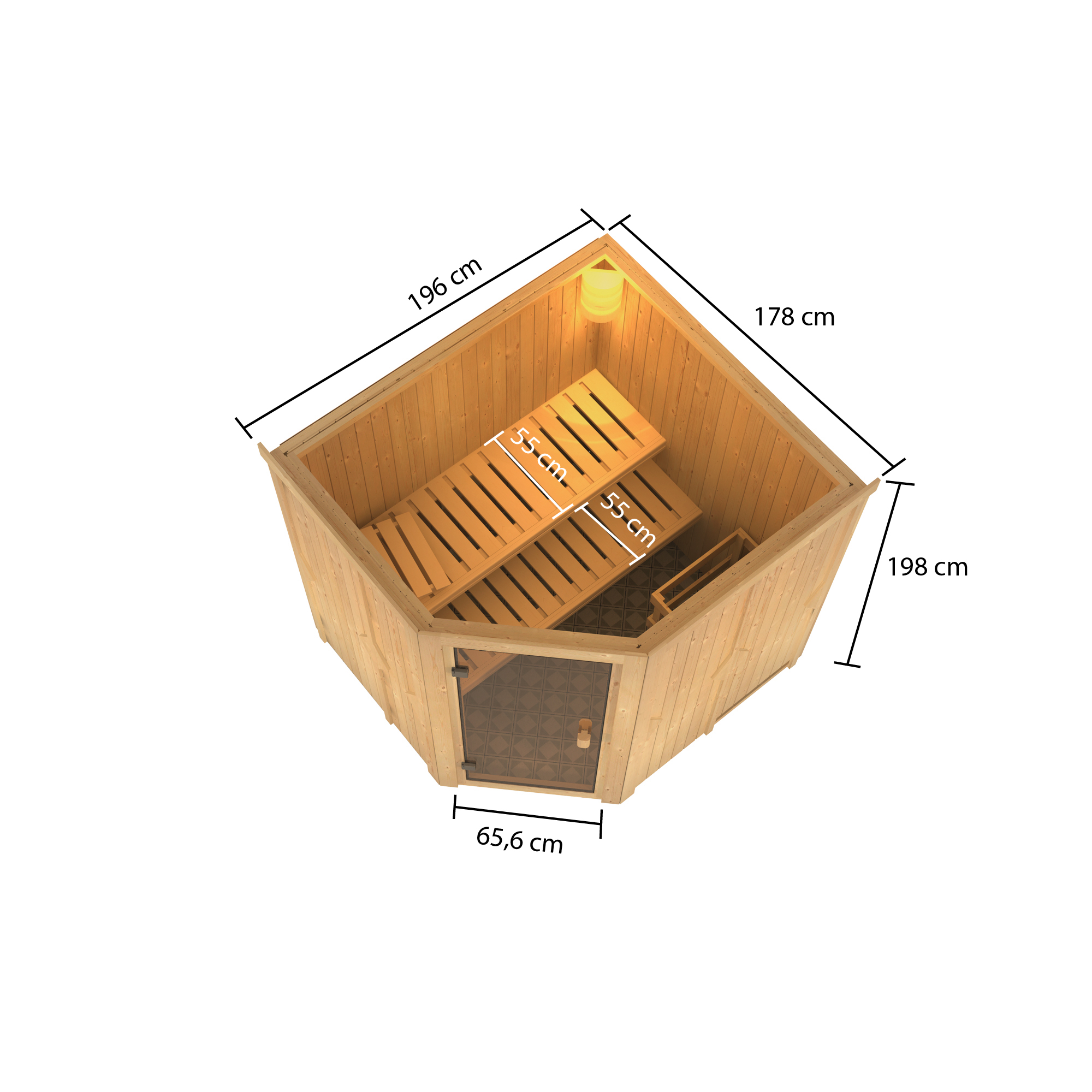 Woodfeeling Sauna Bodo 68mm Saunaofen 9kW intern Bild 7