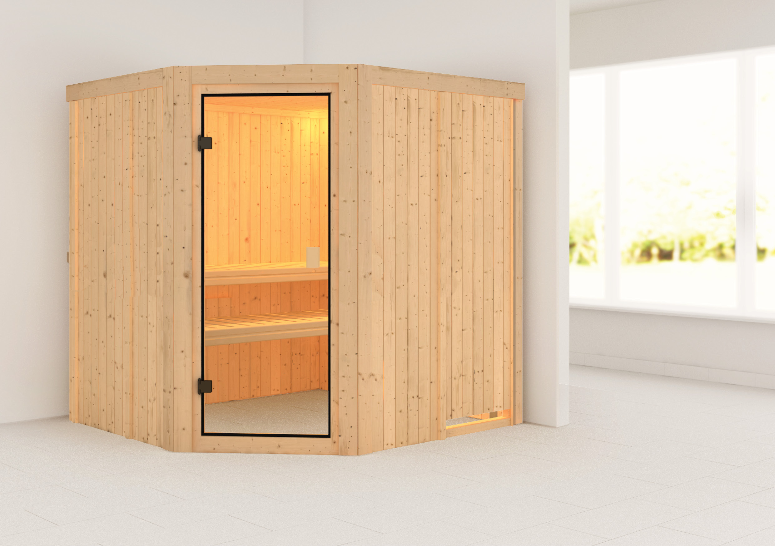Woodfeeling Sauna Bodo 68mm ohne Saunaofen Bild 1