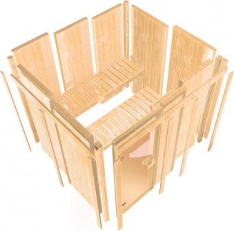 Woodfeeling Sauna Bodo 68mm ohne Saunaofen Bild 4