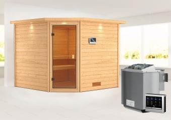 Woodfeeling Sauna Dalia 38mm Dachkranz Bio Saunaofen 9 kW extern Bild 1