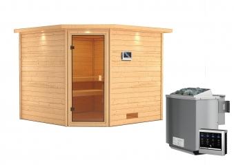 Woodfeeling Sauna Dalia 38mm Dachkranz Bio Saunaofen 9 kW extern Bild 13