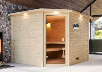 Woodfeeling Sauna Dalia 38mm Dachkranz Bio Saunaofen 9 kW extern Bild 4