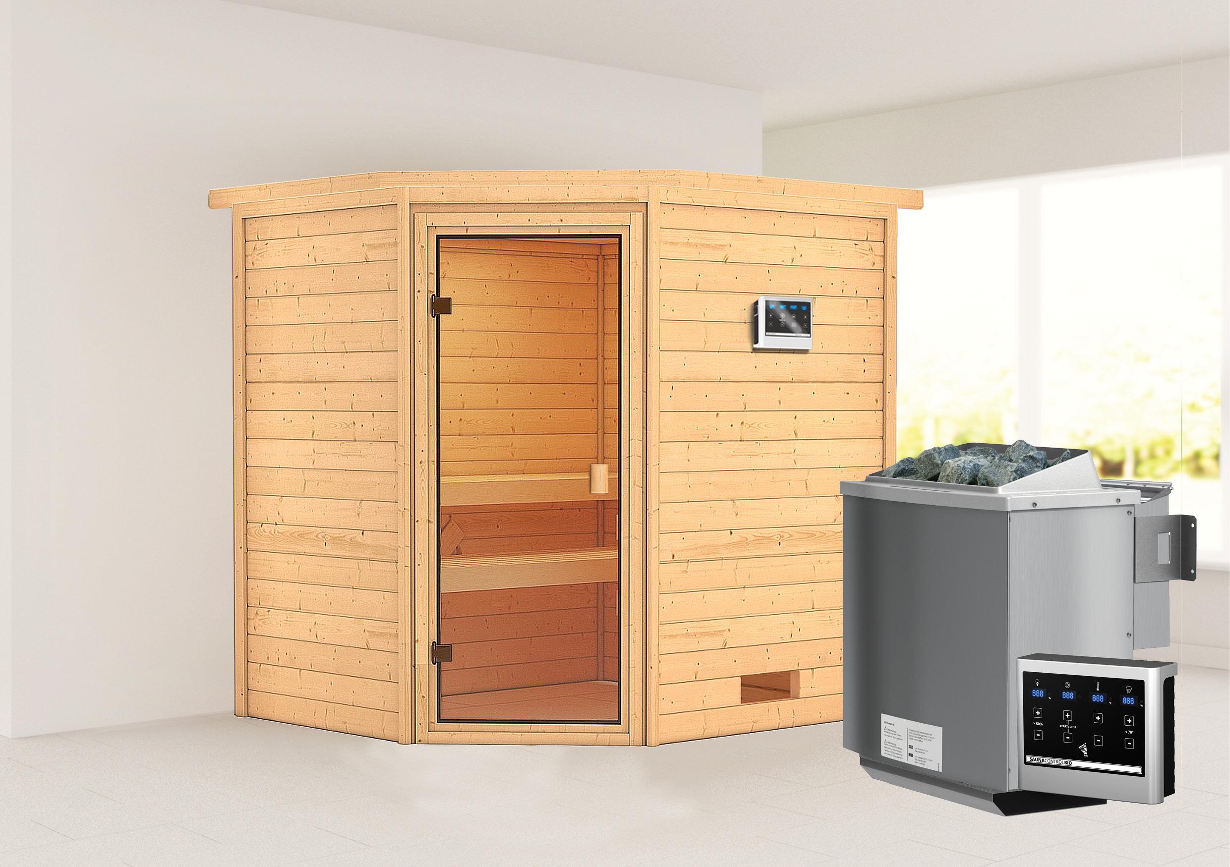 Woodfeeling Sauna Elea 38mm Bio Saunaofen 9kW extern Bild 1