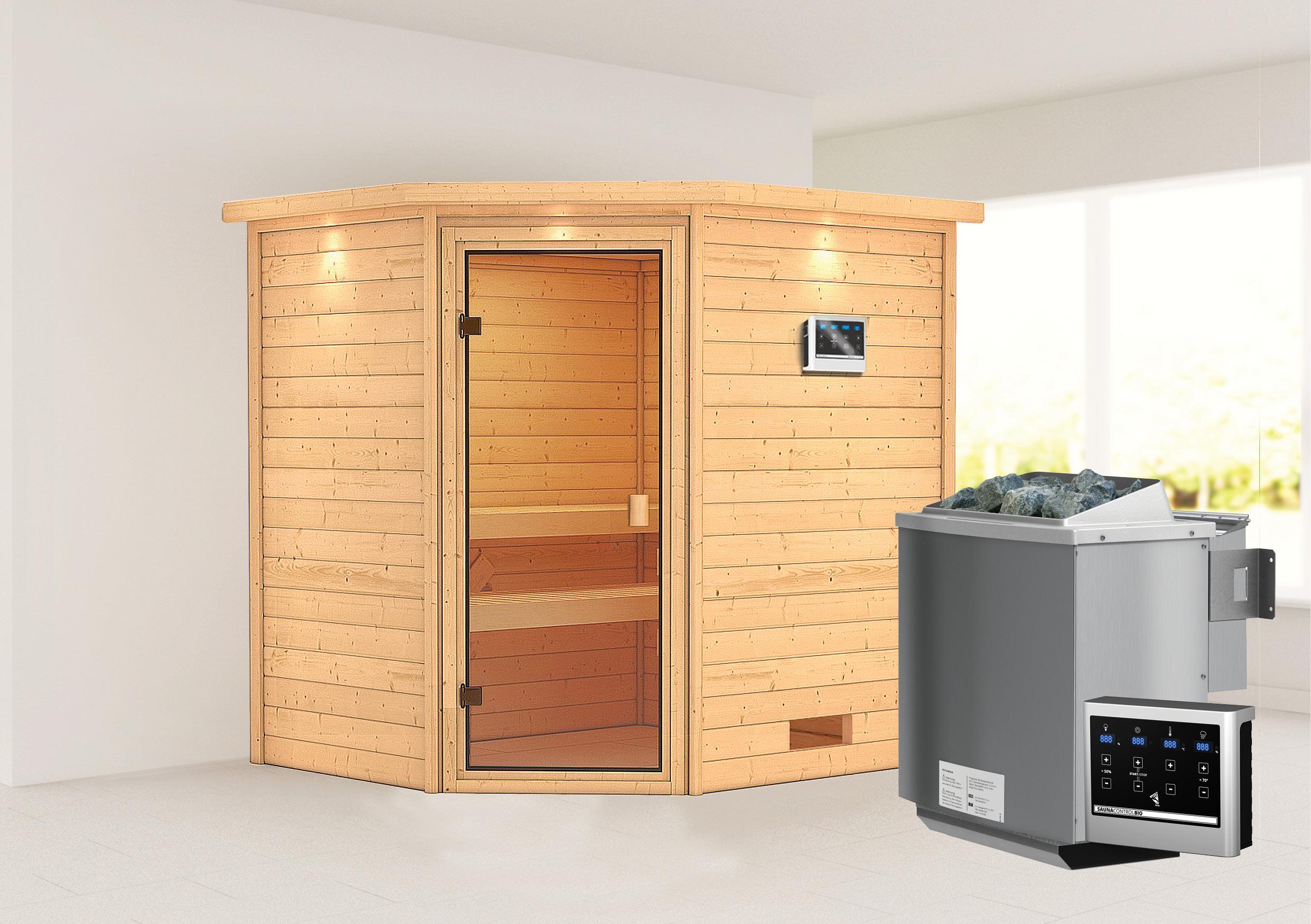 Woodfeeling Sauna Elea 38mm Dachkranz Bio Saunaofen 9kW extern Bild 1