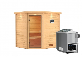 Woodfeeling Sauna Elea 38mm Dachkranz Bio Saunaofen 9kW extern Bild 7