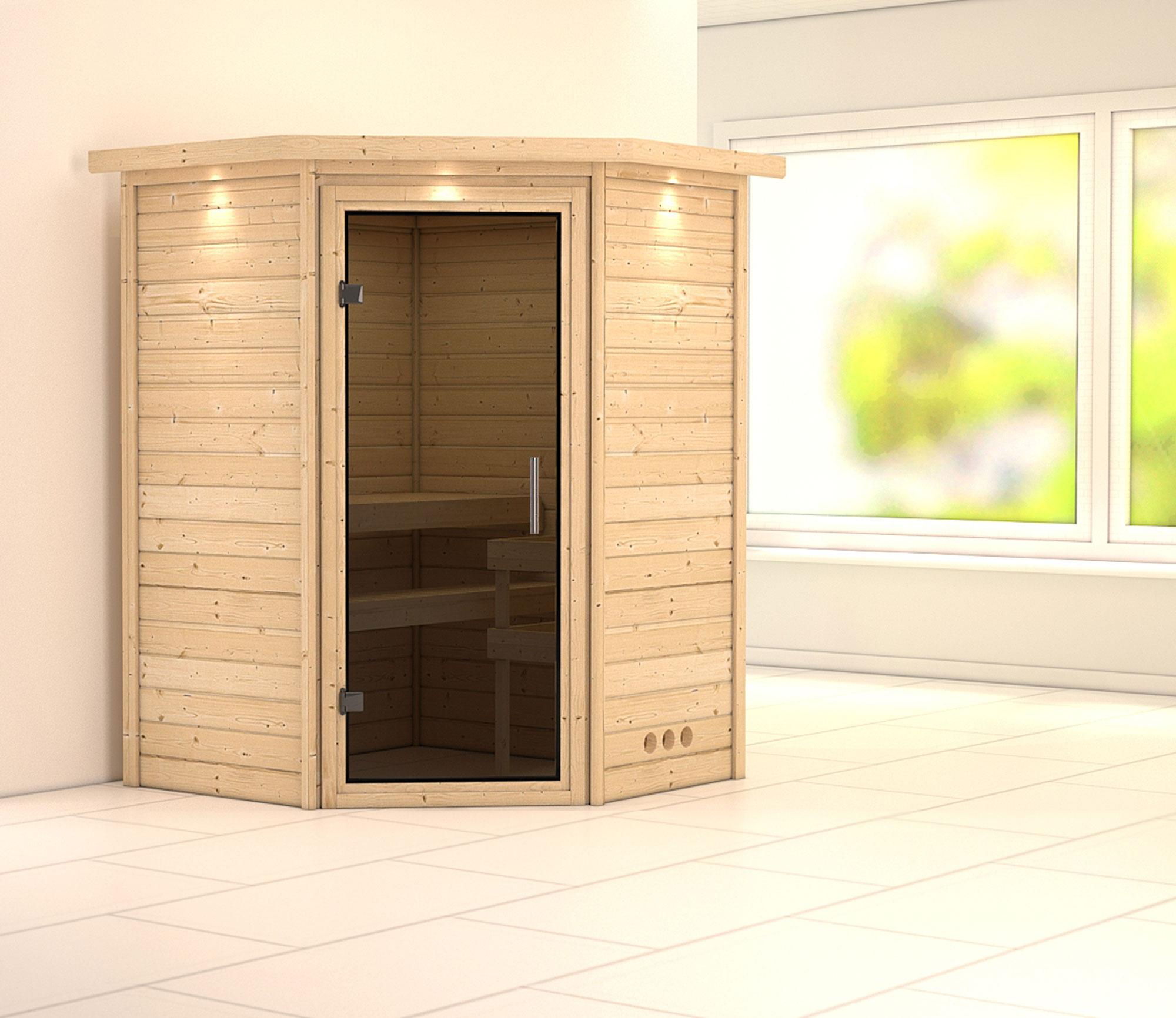 Woodfeeling Sauna Franka 38mm 230V Dachkranz ohne Ofen moderne Tür Bild 1