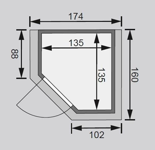 Woodfeeling Sauna Franka 38mm 230V Dachkranz ohne Ofen moderne Tür Bild 2