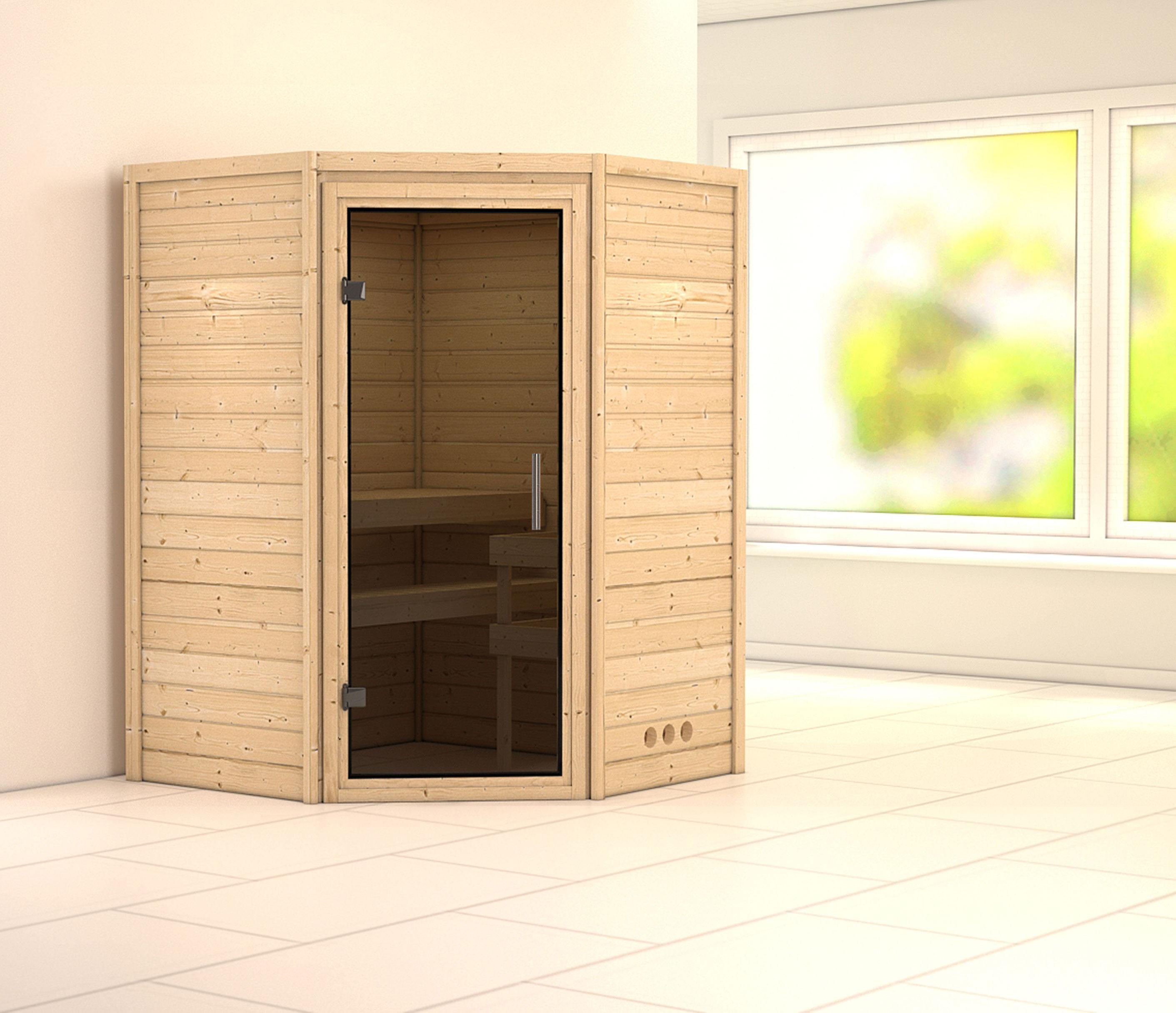 Woodfeeling Sauna Franka 38mm 230V ohne Ofen moderne Tür Bild 1