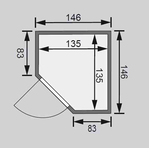 Woodfeeling Sauna Franka 38mm 230V ohne Ofen moderne Tür Bild 2