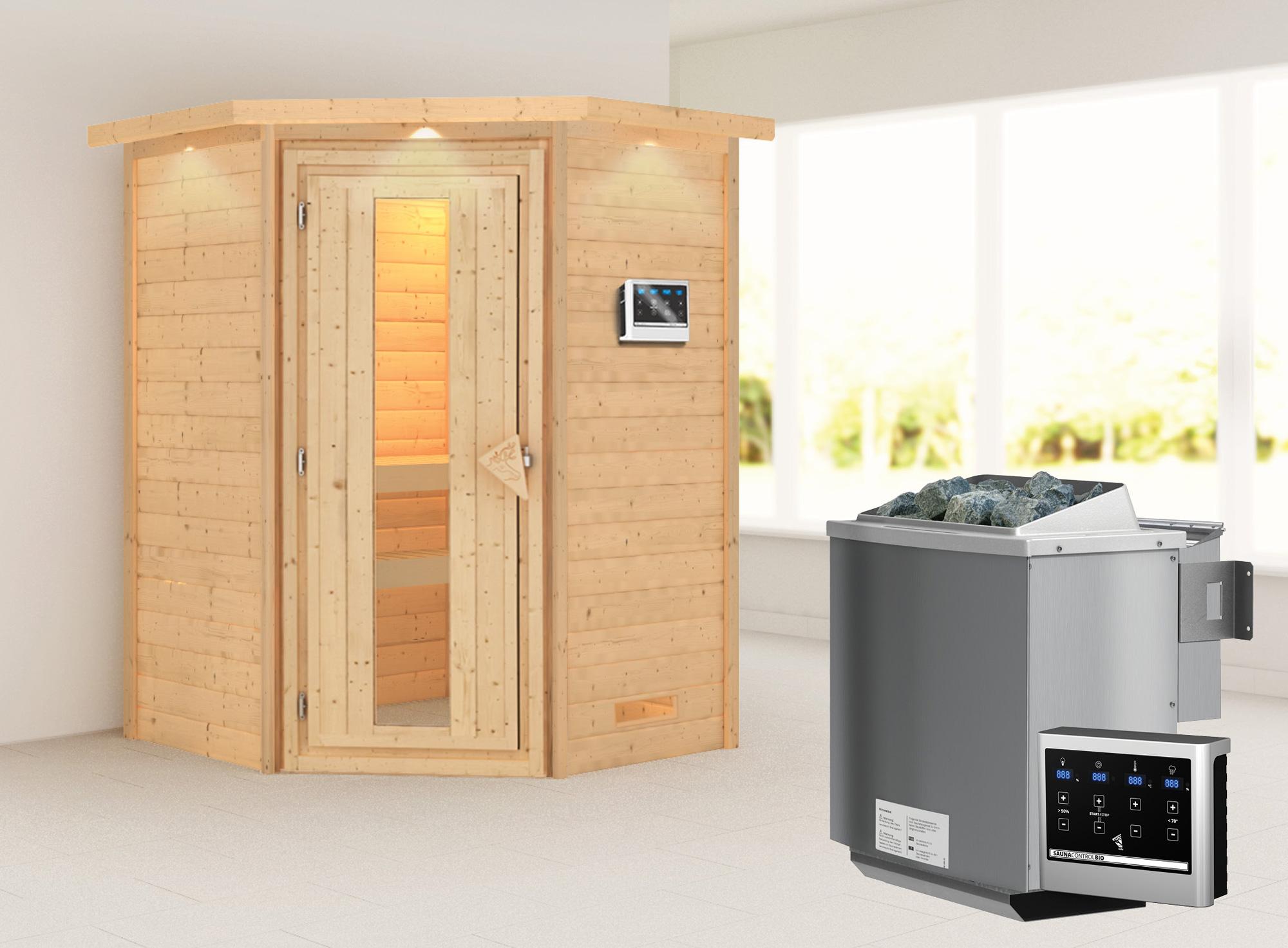 Woodfeeling Sauna Franka 38mm Bio Saunaofen 9kW ext. Kranz Holztür Bild 1