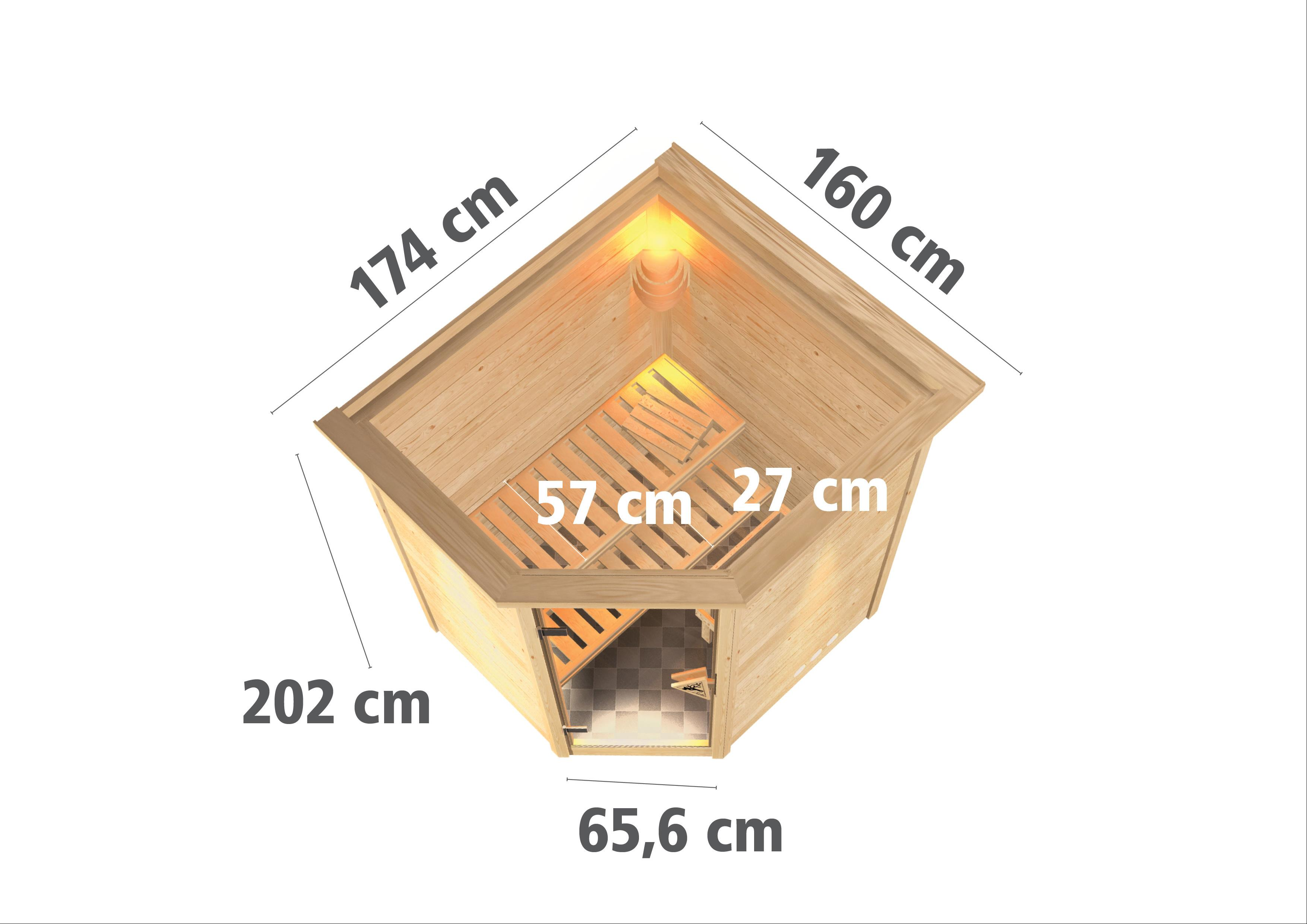 Woodfeeling Sauna Franka 38mm Saunaofen 9kW ext. Dachkranz Classic Tür Bild 3