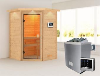 Woodfeeling Sauna Franka 38mm Saunaofen 9kW ext. Dachkranz Classic Tür Bild 1