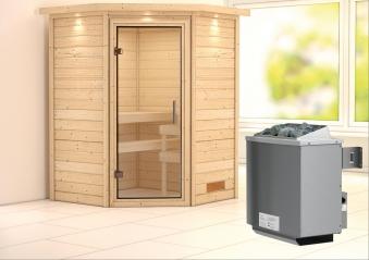 Woodfeeling Sauna Franka 38mm Saunaofen 9kW intern Kranz Klarglas Tür Bild 1