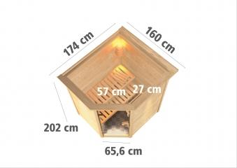 Woodfeeling Sauna Franka 38mm Saunaofen 9kW intern Kranz Klarglas Tür Bild 3