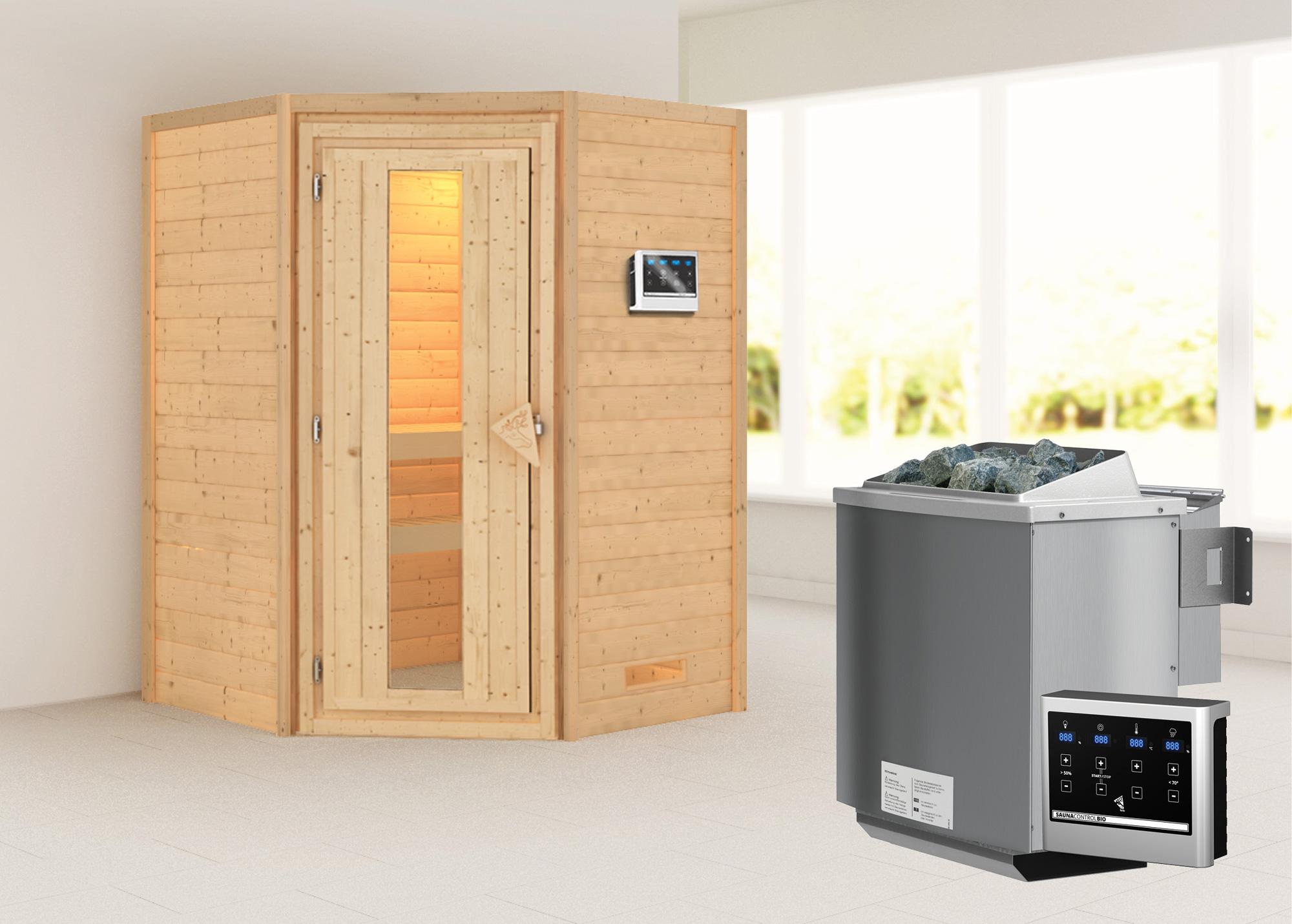 Woodfeeling Sauna Franka 38mm mit Bio Saunaofen 9kW extern Holztür Bild 1
