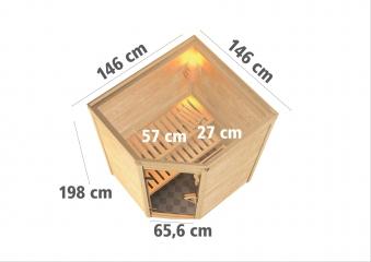 Woodfeeling Sauna Franka 38mm mit Bio Saunaofen 9kW extern Holztür Bild 3