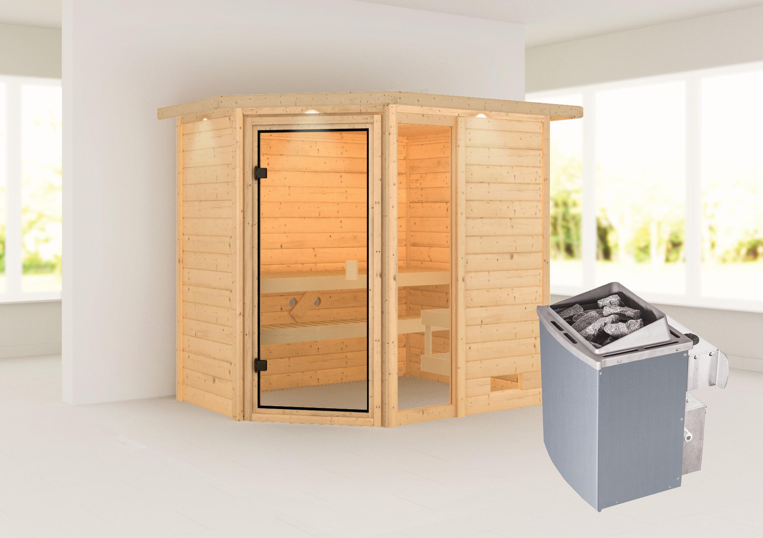 Woodfeeling Sauna Jada 38mm Dachkranz Saunaofen 9 kW intern Bild 1