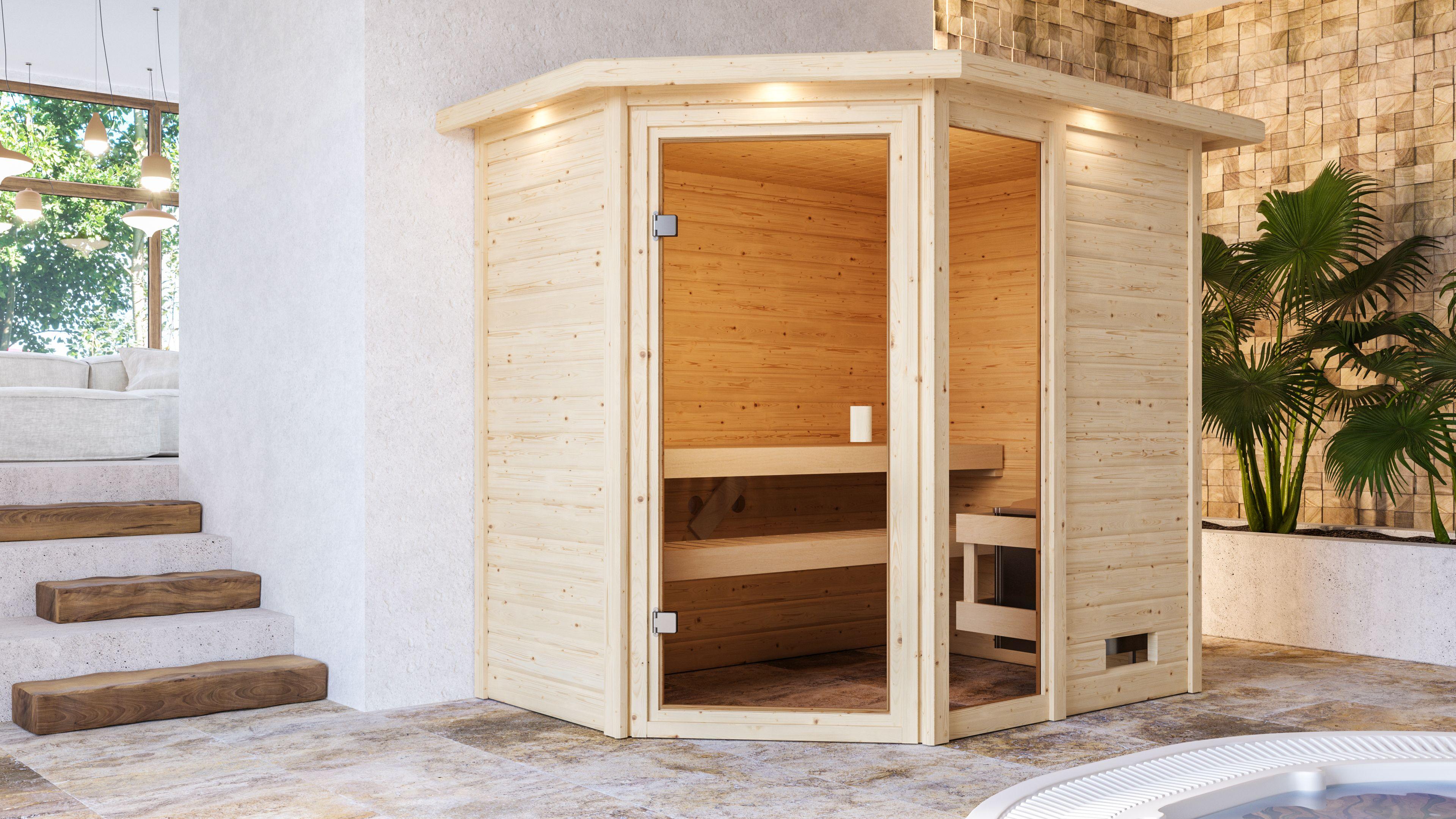 Woodfeeling Sauna Jada 38mm Dachkranz Saunaofen 9 kW intern Bild 2