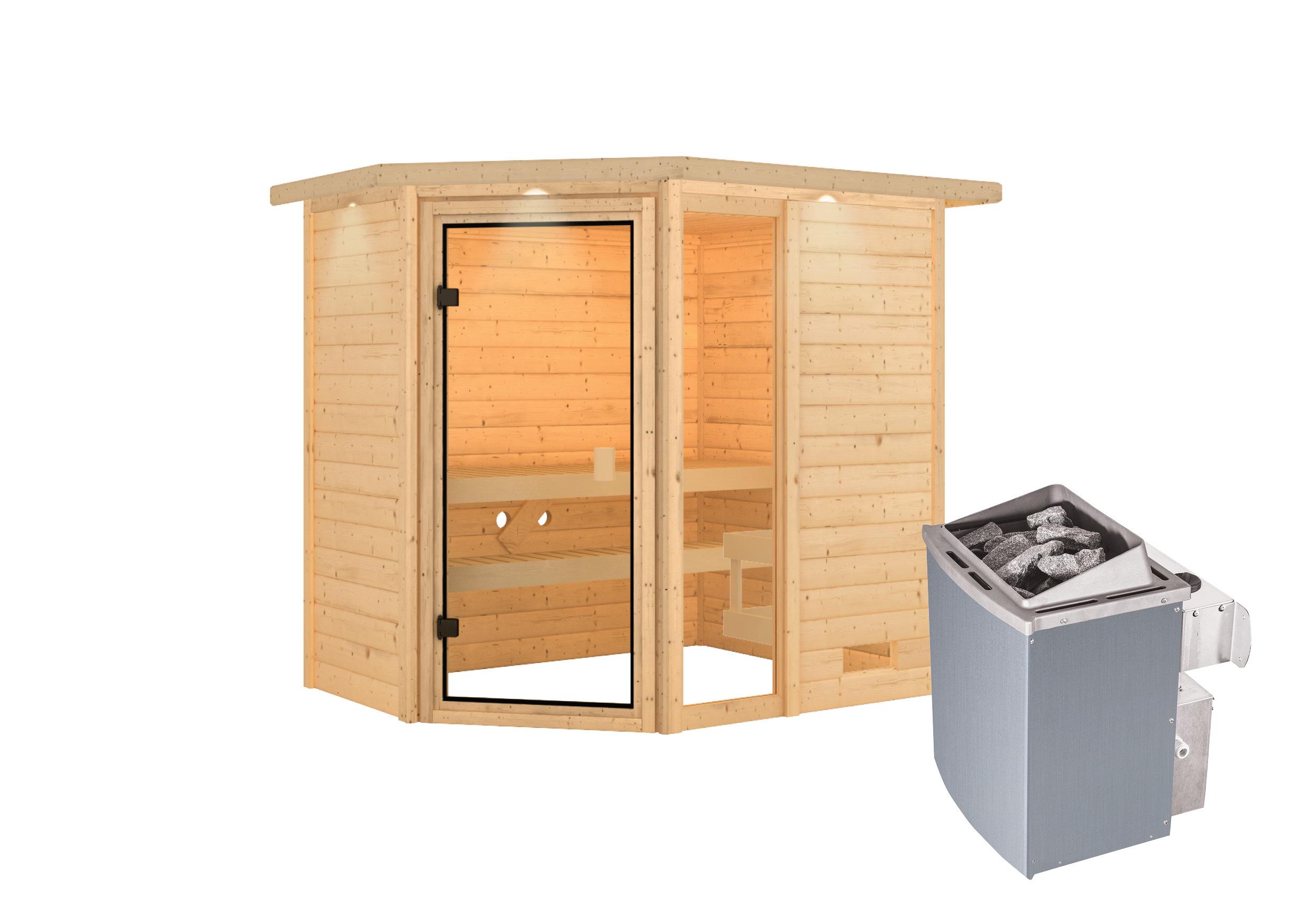 Woodfeeling Sauna Jada 38mm Dachkranz Saunaofen 9 kW intern Bild 6