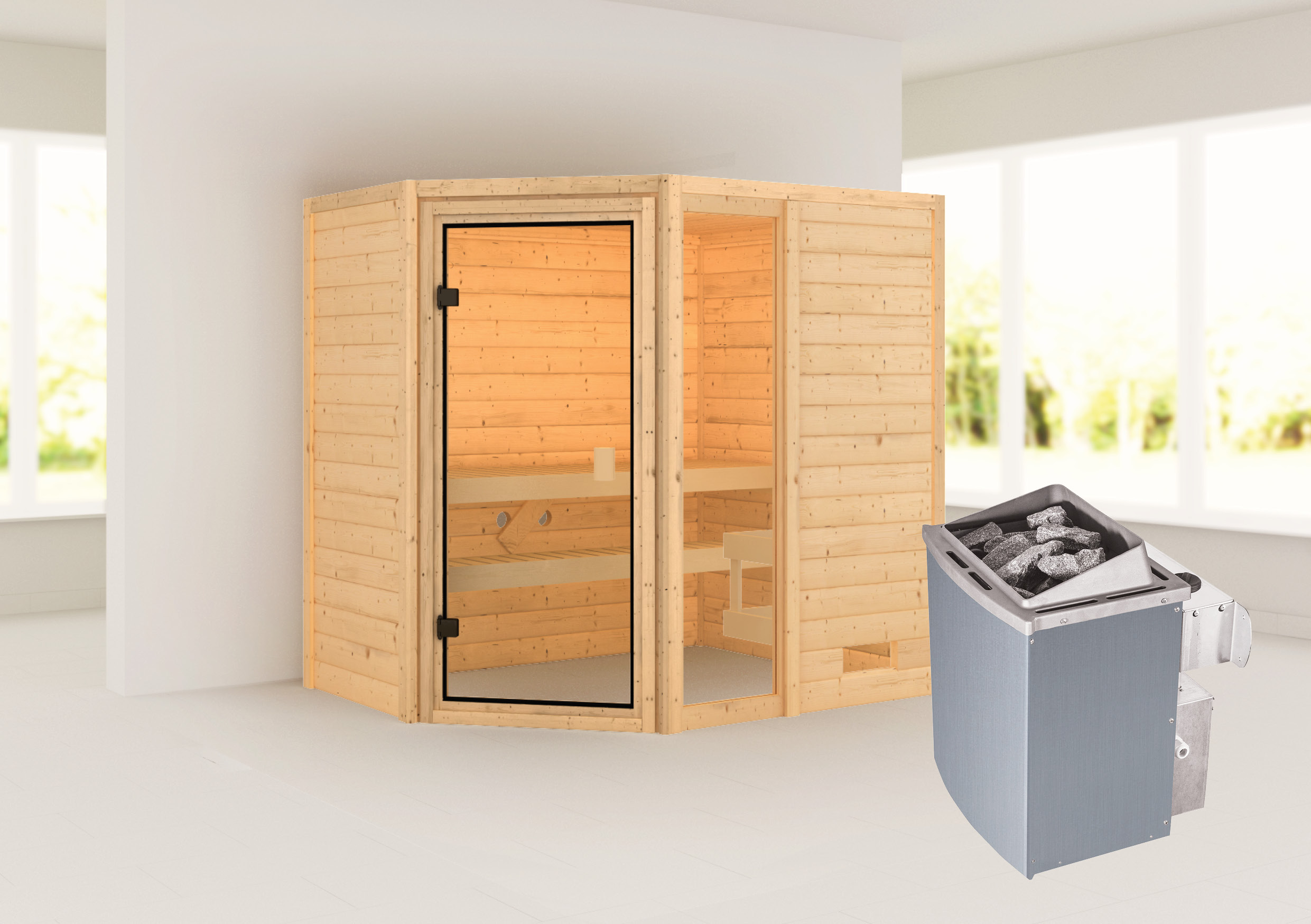 Woodfeeling Sauna Jada 38mm Saunaofen 9 kW intern Bild 1