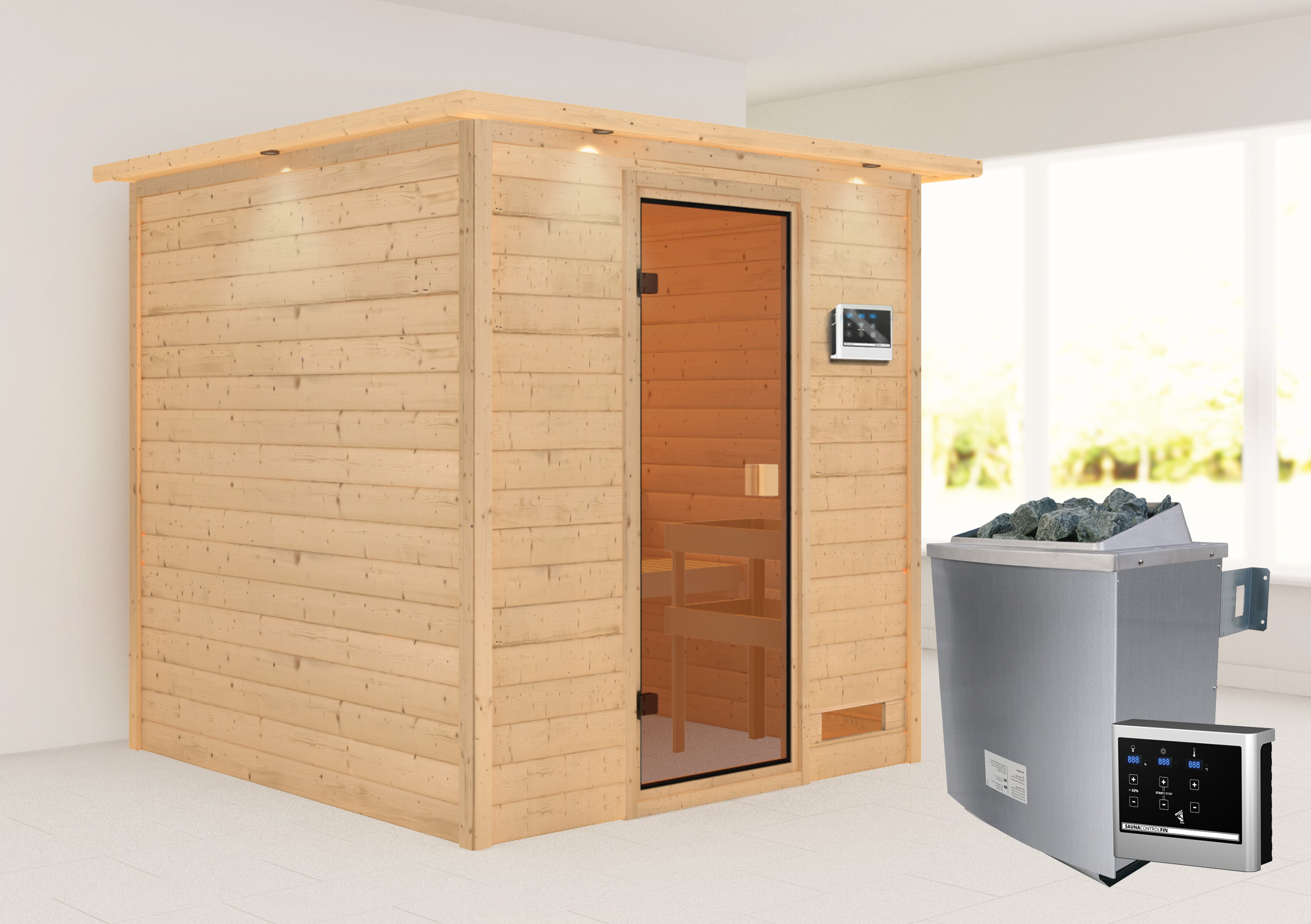 Woodfeeling Sauna Jara 38mm Dachkranz Saunaofen 9 kW extern Bild 1
