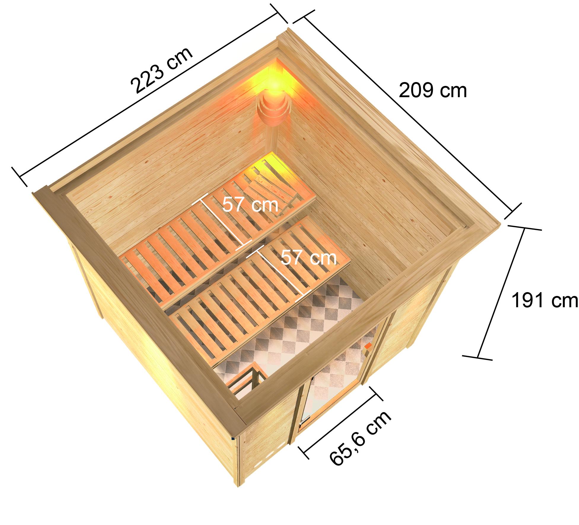 Woodfeeling Sauna Jara 38mm Dachkranz Saunaofen 9 kW extern Bild 8