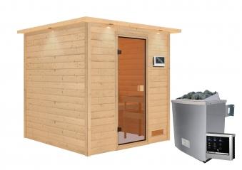 Woodfeeling Sauna Jara 38mm Dachkranz Saunaofen 9 kW extern Bild 10