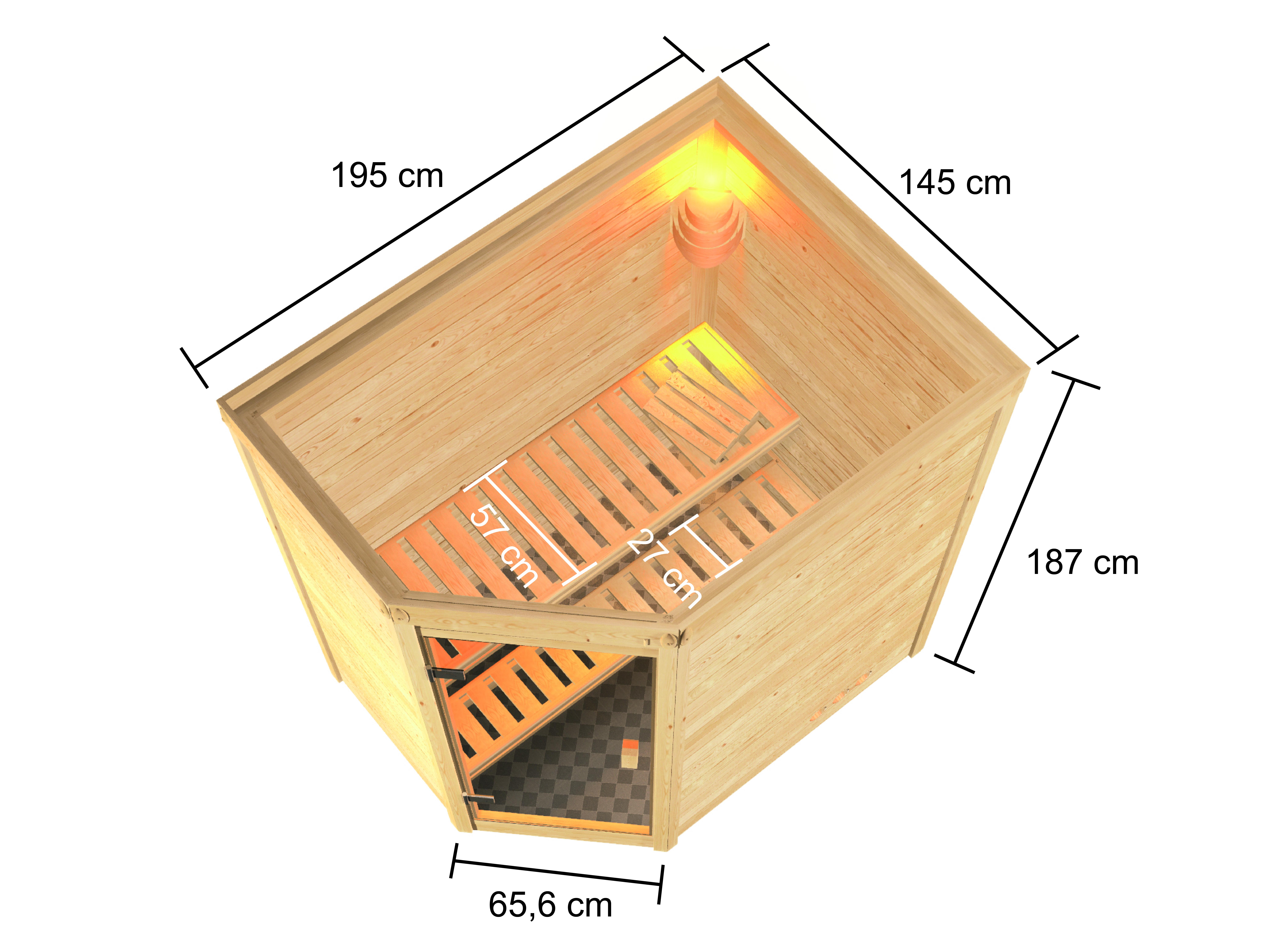 Woodfeeling Sauna Jella 38mm 230V Saunaofen 3,6 kW intern Bild 2