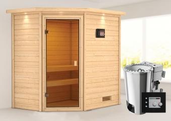 Woodfeeling Sauna Jella 38mm Dachkranz 230V Bio Saunaofen 3,6 kW exter Bild 1