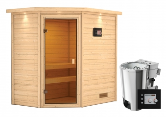 Woodfeeling Sauna Jella 38mm Dachkranz 230V Bio Saunaofen 3,6 kW exter Bild 8