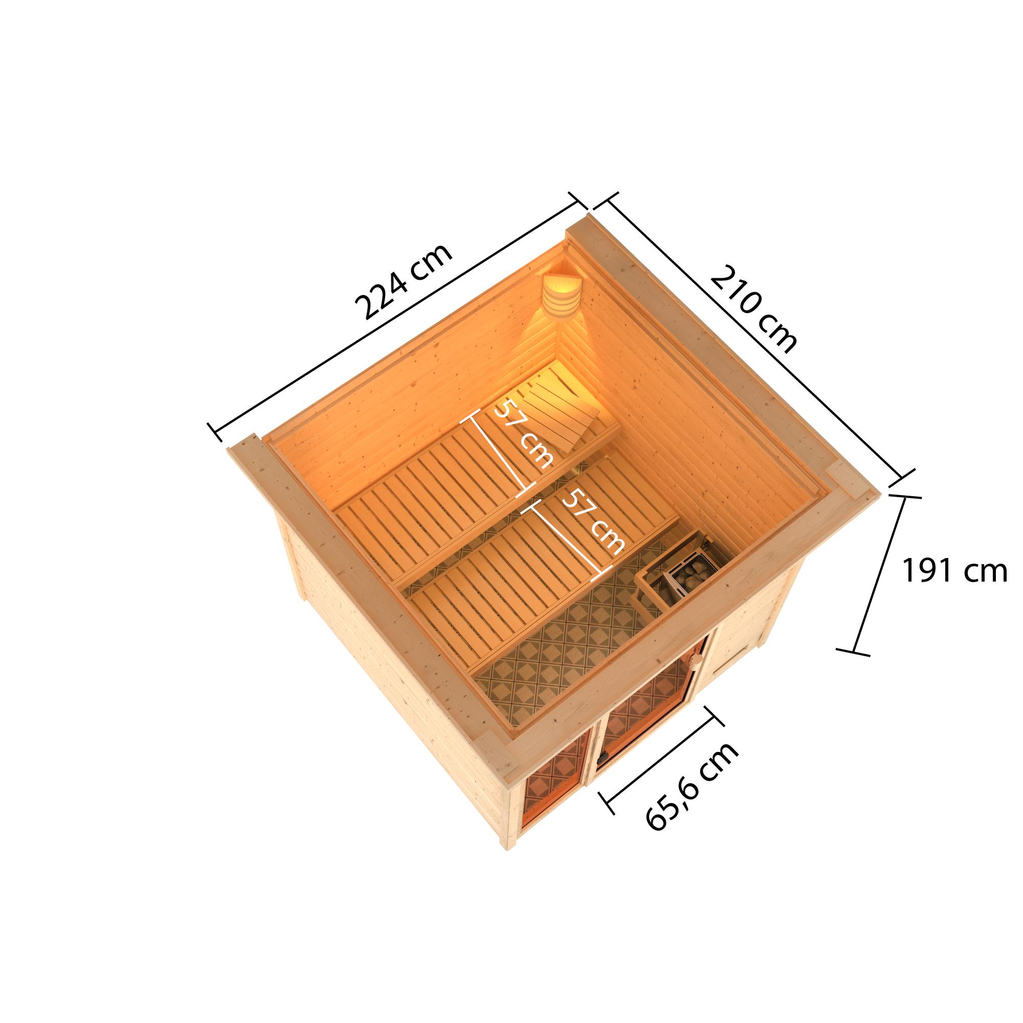 Woodfeeling Sauna Jutta 38mm Dachkranz Saunaofen 9 kW extern Bild 8