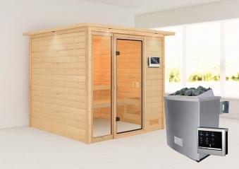 Woodfeeling Sauna Jutta 38mm Dachkranz Saunaofen 9 kW extern Bild 1