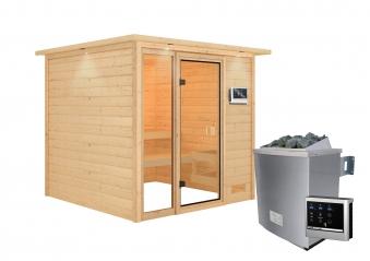Woodfeeling Sauna Jutta 38mm Dachkranz Saunaofen 9 kW extern Bild 5