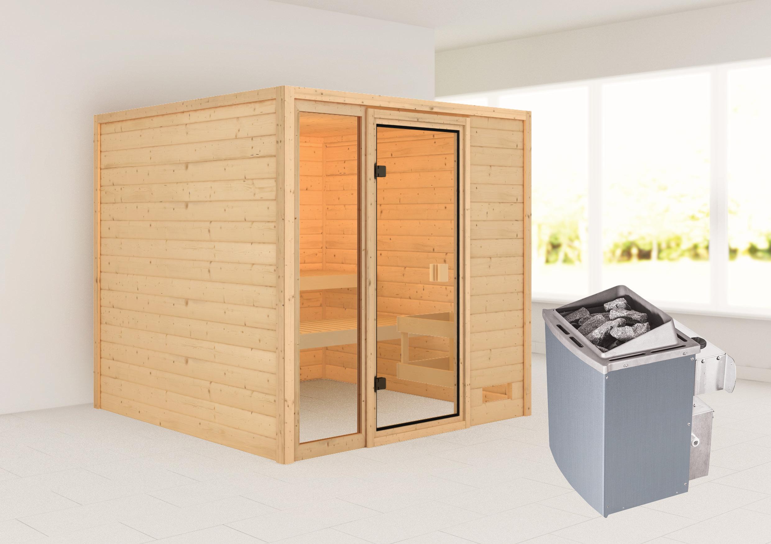 Woodfeeling Sauna Jutta 38mm Saunaofen 9 kW intern Bild 1