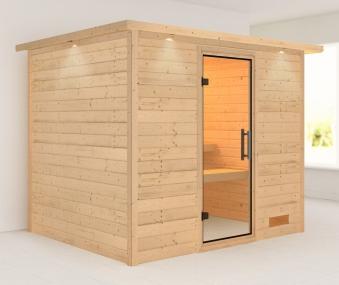 Woodfeeling Sauna Karla 38mm Kranz ohne Ofen Tür Klarglas Bild 1