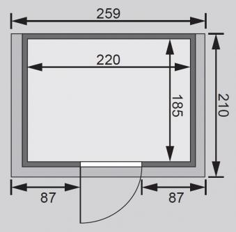 Woodfeeling Sauna Karla 38mm Kranz ohne Ofen Tür Klarglas Bild 2