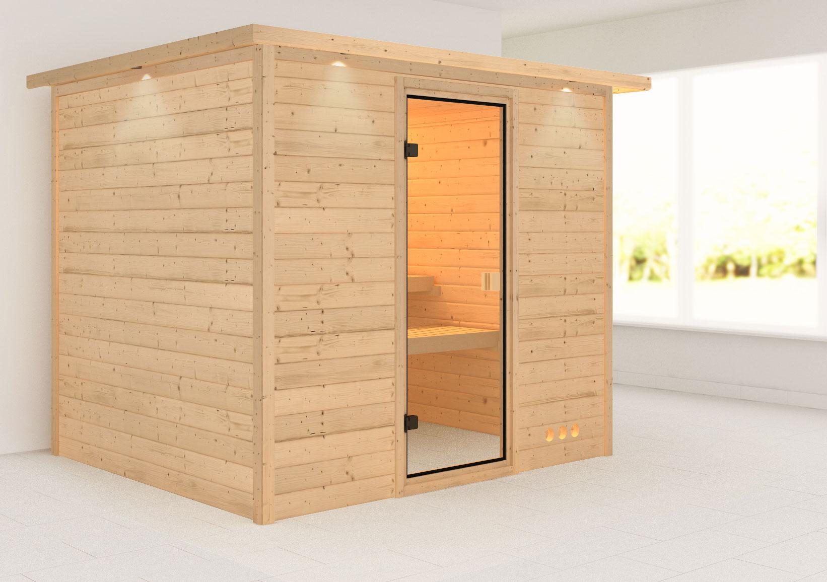 Woodfeeling Sauna Karla 38mm Kranz ohne Ofen Tür Classic Bild 1