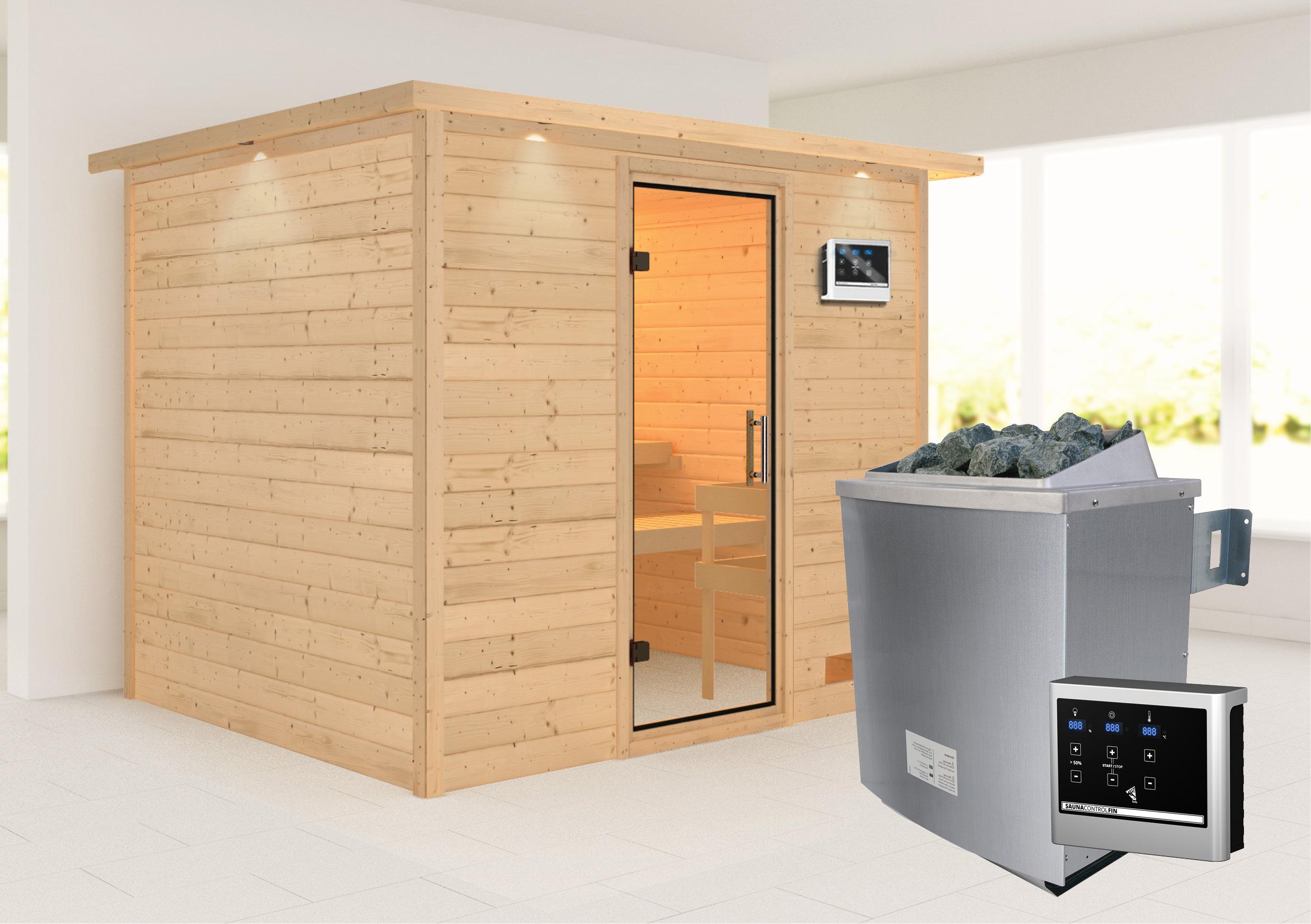 Woodfeeling Sauna Karla 38mm Kranz Ofen 9kW extern Tür Klarglas Bild 1