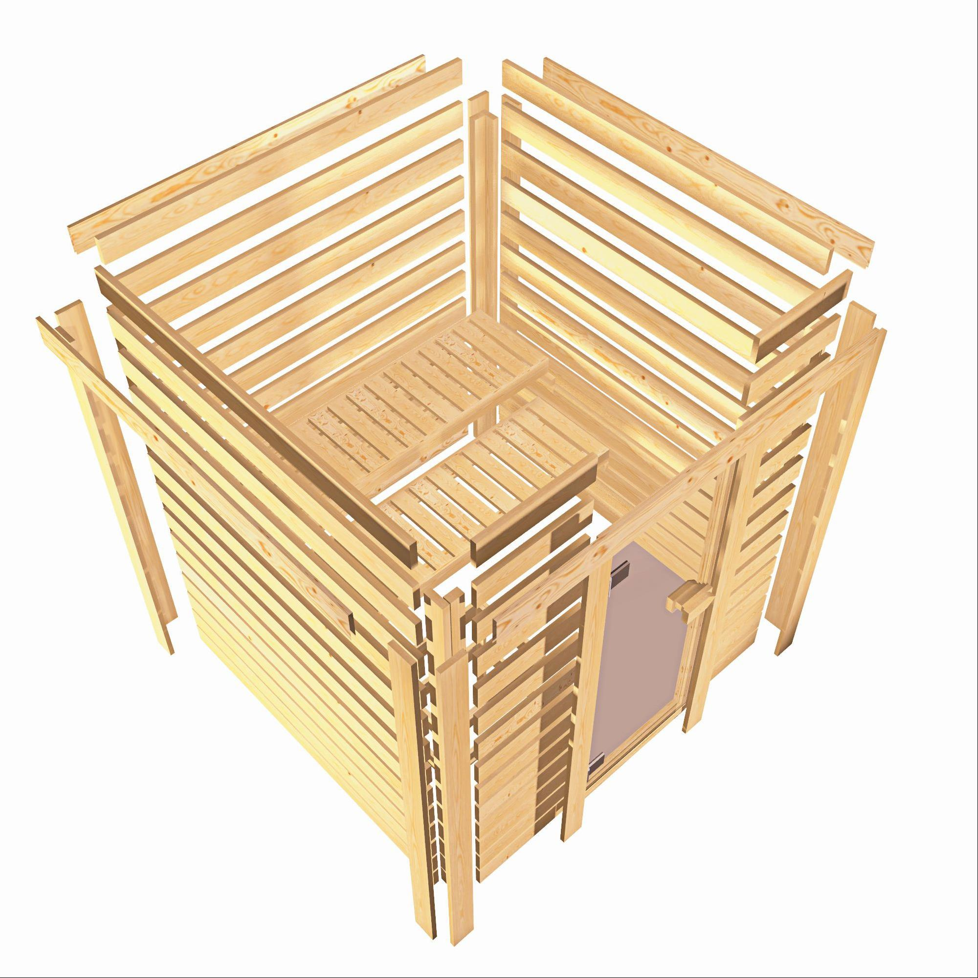 Woodfeeling Sauna Karla 38mm Kranz Ofen 9kW extern Tür modern Bild 4