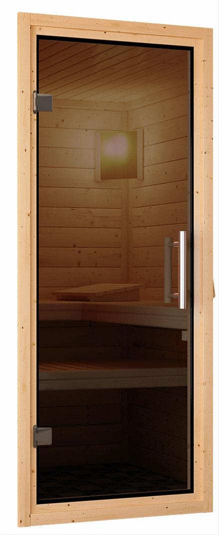 Woodfeeling Sauna Karla 38mm Kranz Ofen 9kW extern Tür modern Bild 6