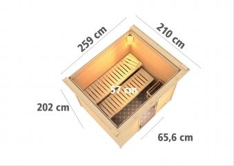 Woodfeeling Sauna Karla 38mm Kranz Ofen 9kW extern Tür modern Bild 3