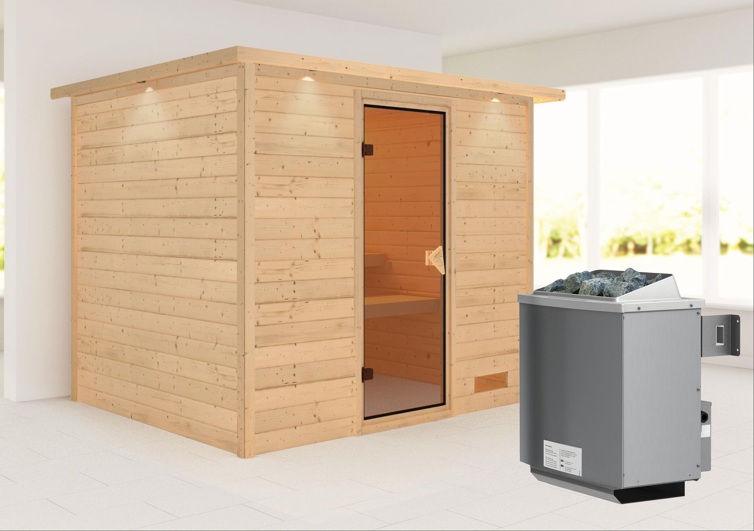 Woodfeeling Sauna Karla 38mm Kranz Ofen 9kW intern Tür Classic Bild 1